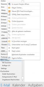 Outlook 2013 - RSS-Feeds einbinden