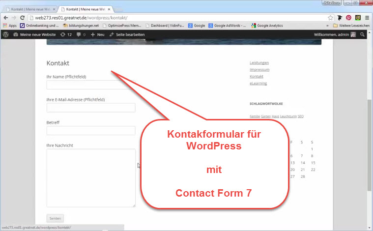 Kontaktformular WordPress